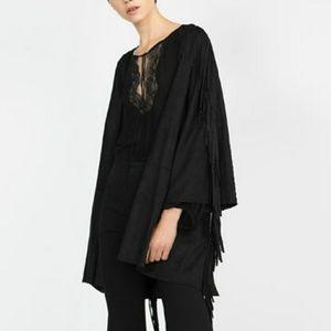 Zara Black Suedette Jacket With Fringe